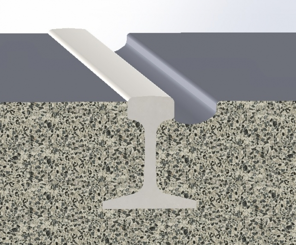 An illustrated diagram of elastomeric grout attaching a rail to concrete
