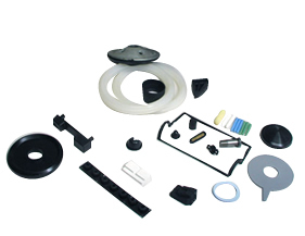 a collection of custom molded rubber products